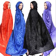 Pleuche Hooded Long Cloak Cape Pagan Witch Wicca Vampire Halloween Robe Dress