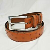 Men's Torino Elite Tan Cognac Genuine Ostrich Leather Belt with Silver Buckle 40