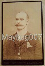 Antique Cabinet Card Photograph St. Louis, Missouri man handlebar moustache