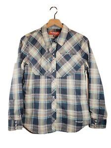 Simms Women's (M) Plaid Pearl Snap Button Fishing Outdoor Long Sleeve Shirt