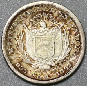 1892-CAM El Salvador Silver 5 Centavos Rare VF Coin <80,000 Minted (21030703R)