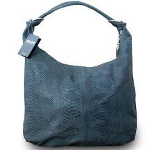 Made in Italy Luxus Designer Damen Schultertasche Shopper Leder Schlange Grau