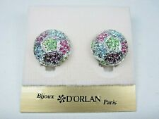 with Pastel Swarovski Crystals 1732 D'Orlan Rhodium Plated Pierced Earrings