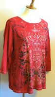 B.L.E.U. women's 1X red pattern embellished 3/4 sleeve t shirt top great pattern