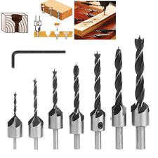 7 pcs Drill Bit Wood 5 Flute HSS Countersink Set 3 4 5 6 7 8 10mm Carpentry Tool