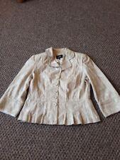 ladies size 12 per una beige jacquard short jacket with 3/4 length sleeves