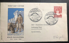 1960 Dundas Greenland First Day Cover Fdc To Tyskland Knud Rasmussen Mxe
