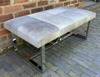 Grey 'Hair on' Cowhide Leather Bench / Coffee Table - Stainless Steel Legs 110cm