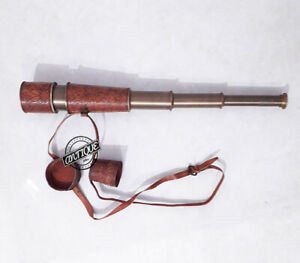 Valentine / Brass/Leather Spyglass Telescope Marine Scope Solid Brass Gift