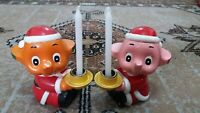 Satoko and Sato Chan Cute Vintage 5 inch Ceramic Candle Holder RARE FIND!