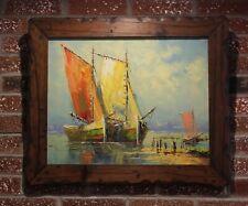 Oil painting on canvas, Harbor, dock, ships, Signed,  Framed