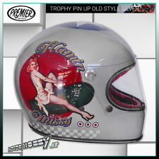 CASCO INTEGRALE IN FIBRA VINTAGE PREMIER TROPHY PIN UP OLD STYLE SILVER TAGLIA S