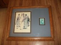 NORMAN ROCKWELL Four Sporting Boys & Bobby Jones 18c Stamp Framed & Matted