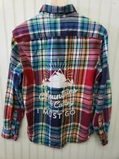 Flannel Shirt American Eagle Womens M upcycle Mountains are Calling Rainbow