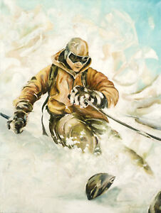 Original Abstract Skier Painting Skiing Oil