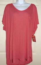 New Womens size 2X 18W-20W Red Striped Crossback T-Shirt Top Rayon