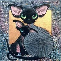 Devon Rex cat kitten mounted signed print from original painting Suzanne Le Good
