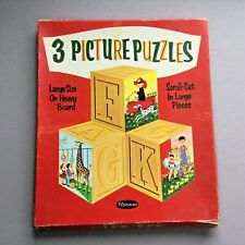 Set of 3 Childrens Puzzle Vintage by Whitman Fireman Cats and Kids Zoo Made USA