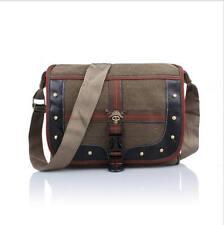 Canvas Messenger Shoulder Satchel Bag Studs Skull Badge - Brown Colour - BA0025