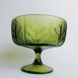 VINTAGE GLASS CHRISTMAS GREEN Oak LEAF CANDY DISH Pebbled FTD 1975