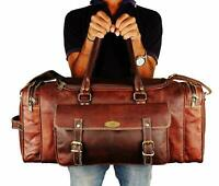 Men's genuine Leather Large Square Travel Gym Weekend Overnight Duffel Bag