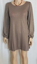 Ella Moss Boat Neck Shimmer Mocha Mini Dress Long Sleeve Sz. XS $145