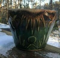 Vintage Roseville Pottery Brown/Green Drip Glaze Planter