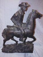 """Vintage Austin Sculpture signed Cowboy Horse Gun Large 17"""""""