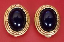CLASSIC Vintage Signed OSCAR DE LA RENTA designer Dark Blue GRIPOX Gold EARRINGS