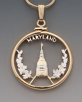 """Maryland U.S. State Coin Pendant Necklace. Hand cut - 7/8"""" diameter( # 2007 )"""