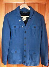 M&S Blue Fleece Lined Knit Shawl Neck Cardigan Jacket Size 13-14 Yrs 34' 164 cm