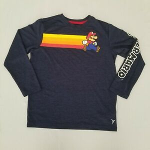 Old Navy Boys Super Mario Shirt Long Sleeve Athletic Navy Youth 8 T-Shirt