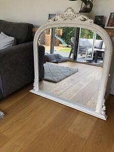 Ornate White Over-Mantle Mirror
