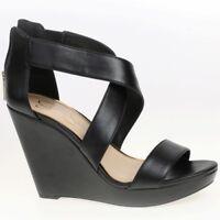 Women's Jessica Simpson JINXXI Black Wedge Heel Sandal Shoes