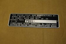 Australia Honda XL500S date 7/79  Compliance Data Plate FRAME+ Engraving