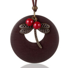 Antique Wooden Tag Dragonfly Pendant Necklace Sweater Chain Charm Women's Gift