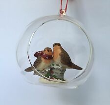 Premier 100mm 2 Robin in Glass Bauble Christmas Tree Bauble Decoration XMas