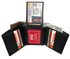 RFID SCAN BLOCKING BLACK MEN'S LEATHER ID CARDS PLAIN TRIFOLD WALLET FLAP TOP+