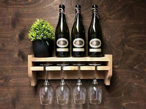 Wine Shelf Bottle & 4 Glass Holder Wall Display Rustic Wooden Home Bar (WS)PK3