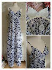Vintage 1960's St.Michael Blue & White Floral Maxi Dress Boho, Festival size 8