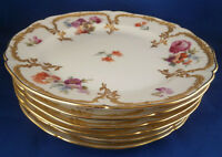 Antique Set 6 KPM Berlin Porcelain Neuzierat Plate s Porzellan Teller German