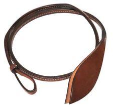 Showman 4 foot Leather Over & Under Whip Adjustable Horn Wrist Loop Split Ends