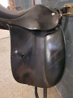 Dressursattel Euroriding 16 Zoll Leder schwarzPonysattel