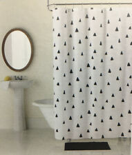 Studio D Shower Curtain & 12 Rings White Wirh Black Triangle Print