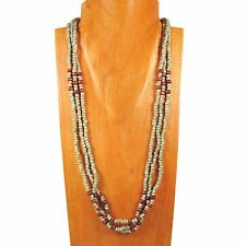 "25"" Antique Turquoise Color Wood Glass Seed Bead Multi Strand Handmade Necklace"