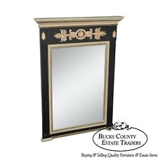 Regency Style Black & Silver Gilt Trumeau Mirror