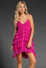 NWT $495 Sz. XS HAUTE HIPPIE Silk Ruffle Layer Halter Dress Azalea Pink