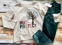 Gymboree Outfit Set 3T Creative Types Tree Hug & Protect Top Velour Leggings NWT