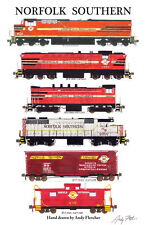 """Norfolk Southern 11""""x17"""" Poster by Andy Fletcher signed"""