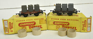 TRIANG TT BOXED T276 CONTAINER WAGON WITH CONTAINERS X2 DIFFERENT COLOURED BASES